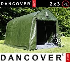 Portable Garage PRO 2x3x2 m PE, with ground cover, Green/Grey