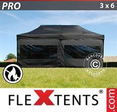 Racing tent PRO 3x6 m Black, Flame retardant, incl. 6 sidewalls