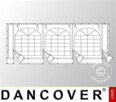 Endwall w/large window and wide door, 6m, PVC, White/Grey