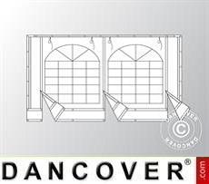 Endwall w/large window and wide door, 4m, PVC, White