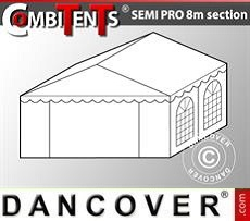 4m end section extension for Semi PRO CombiTent, 8x4m, PVC, White