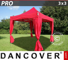 FleXtents Pop Up Marquees - Pop up gazebo FleXtents PRO 3x3 m Red, incl. 4 decorative curtains
