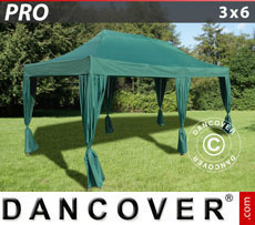 FleXtents Pop Up Marquees - Pop up gazebo FleXtents PRO 3x6 m Green, incl. 6 decorative curtains