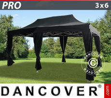 Pop up gazebo FleXtents PRO 3x6 m Black, incl. 6 decorative curtains