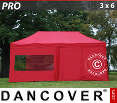 Pop up gazebo FleXtents PRO 3x6 m Red, incl. 6 sidewalls