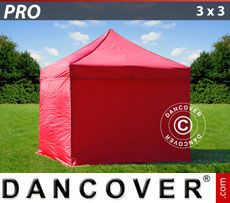 Pop up gazebo FleXtents PRO 3x3 m Red, incl. 4 sidewalls