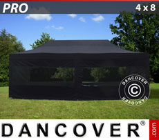 Pop up gazebo FleXtents PRO 4x8 m Black, incl. 6 sidewalls