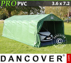 Portable Garage PRO 3.6x7.2x2.7 m PVC, with ground cover, Green / Grey