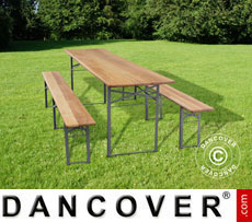 Table and Bench set, wooden, foldable steel leg, 240 cm