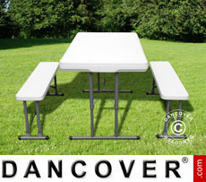 Camping table (113 cm) + 2 folding benches (95 cm)