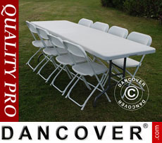 Party package 1 folding table (242 cm) + 8 chairs