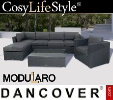 Poly rattan Lounge Set II, 7 modules, Modularo, Grey