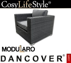 Poly rattan armchair for Modularo, Black