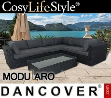 Poly rattan Lounge Set V, 4 modules, Modularo, Black