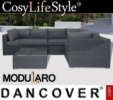 Poly rattan Lounge Set VI, 4 modules, Modularo, Grey