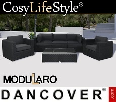 Poly rattan Lounge Set I, 6 modules, Modularo, Black
