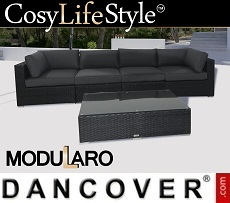 Poly rattan Lounge Set, 5 modules, Modularo, Black