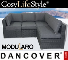 Poly rattan Lounge Sofa, 4 modules, Modularo, Grey