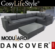 Poly rattan Lounge Set IV, 6 modules, Modularo, Grey