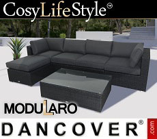 Poly rattan Lounge Set III, 6 modules, Modularo, Black