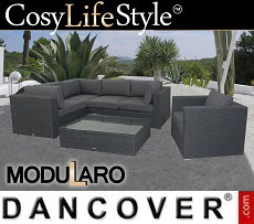 Poly rattan Lounge Set II, 6 modules, Modularo, Grey