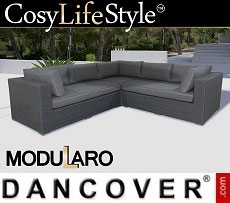 Poly rattan Lounge Sofa, 3 modules, Modularo, Grey
