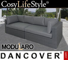 Poly rattan Lounge Sofa, 2 modules, Modularo, Grey