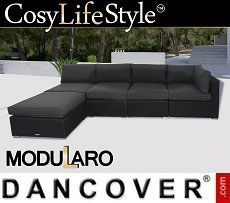 Poly rattan Lounge Sofa II, 5 modules, Modularo, Black