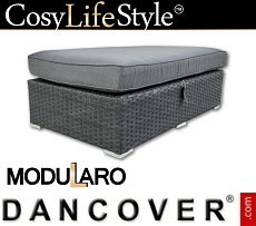 Poly rattan footstool for Modularo, Retangular, Black