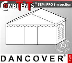2m end section extension for Semi PRO CombiTent, 8x2m, PVC, White