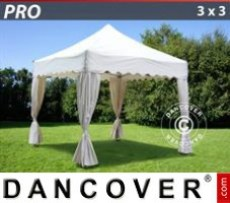 Marquee 3x3m White, incl. 4 decorative curtains