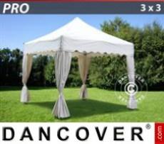 Marquee 3x3m White, incl. 4 decorative curtains
