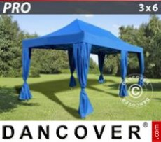 Marquee 3x6 m Blue, incl. 6 decorative curtains