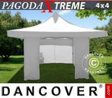 Pop up gazebo FleXtents Pagoda Xtreme 4x4 m / (5x5 m) White, incl. 4 sidewalls