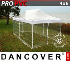 Pop up gazebo FleXtents PRO 4x6 m Clear, incl. 8 sidewalls
