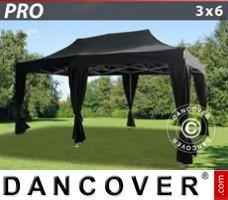 Pop up gazebo FleXtents PRO 3x6 m Black, incl. 6 decorative curtains