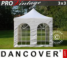 Pop up gazebo FleXtents PRO Vintage Style 3x3 m White, incl. 4 sidewalls
