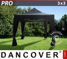 Pop up gazebo FleXtents PRO 3x3 m Black, incl. 4 decorative curtains