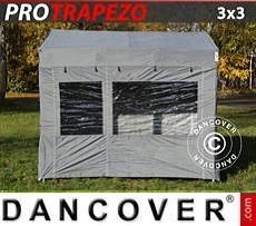 Camping awning Pop up gazebo FleXtents PRO Trapezo 3x3m Grey, incl. 4 sidewalls
