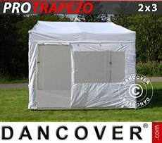Camping awning Pop up gazebo FleXtents PRO Trapezo 2x3m White, incl. 4 sidewalls