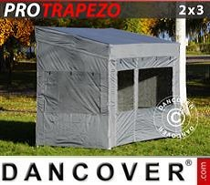 Camping awning Pop up gazebo FleXtents PRO Trapezo 2x3m Grey, incl. 4 sidewalls