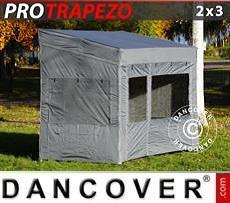 Camping awning Pop up gazebo FleXtents PRO Trapezo 2x3m Grey, incl. 4 sidewalls