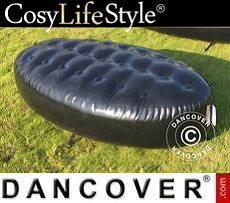 Event Furniture Inflatable bench, Chesterfield style, 1x1.95x0.45 m, Black