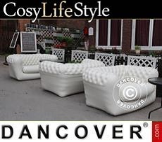 Event Furniture Inflatable sofa, Chesterfield style, 2-seater, Off-White