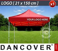 Logo Print Branding 1 pc. valance print 21x150 cm on FleXtents, right-aligned