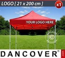 Logo Print Branding 1 pc. valance print 21x200 cm on FleXtents, right-aligned