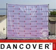 Logo Print Branding Backdrop stand w/digital print, 300x240cm, Black