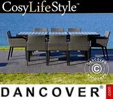 Garden furniture set, Miami, 1 table + 8 chairs, Black/Grey