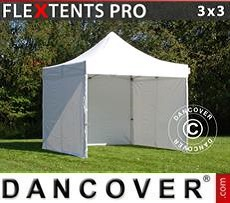Racing tents Pop up gazebo FleXtents PRO 3x3 m White, incl. 4 sidewalls