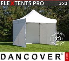 Racing tents Pop up gazebo FleXtents PRO 3x3 m White, incl. 4 sidewalls